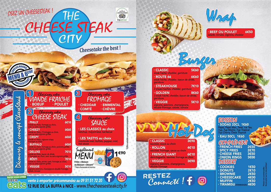 CARTE 2019 THE CHEESE STEAK CITY